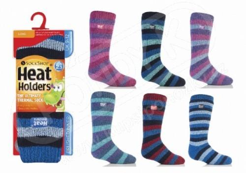 HEAT HOLDERS dětské vyšší ponožky termoizolační PRUHY 31-36 266df6f2ca