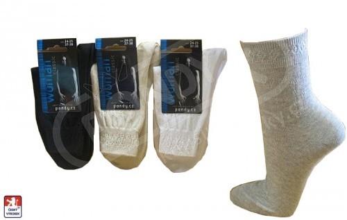 c7bb8a2829f Dámské ponožky PONDY.CZ vycházkové ozdobný lem 37-41